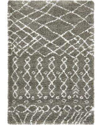 Fazil Shag Faz2 Gray 4' x 6' Area Rug