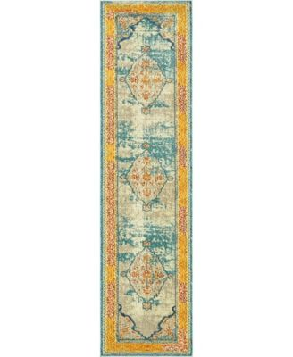 "Brio Bri1 Blue 2' 7"" x 10' Runner Area Rug"