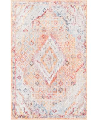 "Zilla Zil1 Orange 3' 3"" x 5' 3"" Area Rug"