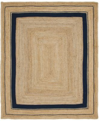 Braided Border Brb1 Natural/Navy 8' x 10' Area Rug