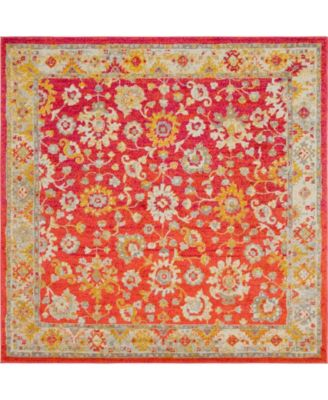 Lorem Lor3 Red 8' x 8' Square Area Rug