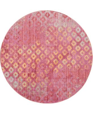 Prizem Shag Prz2 Pink 6' x 6' Round Area Rug