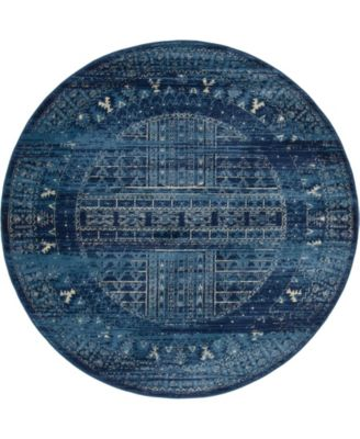 Borough Bor4 Blue 5' x 5' Round Area Rug