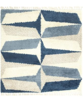 Lochcort Shag Loc6 Blue 8' x 8' Square Area Rug
