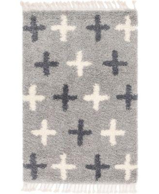 Lochcort Shag Loc7 Light Gray 4' x 6' Area Rug
