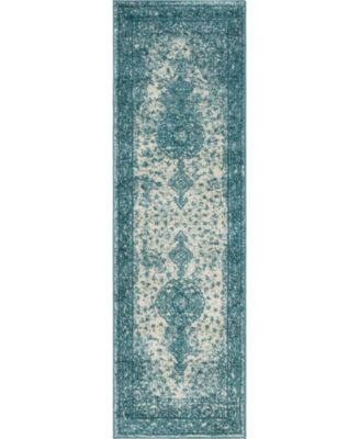 "Mobley Mob1 Turquoise 2' x 6' 7"" Runner Area Rug"