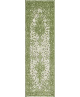 """Mobley Mob1 Green 2' x 6' 7"""" Runner Area Rug"""