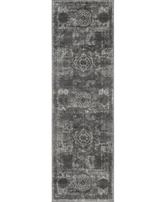 "Mobley Mob2 Dark Gray 2' x 6' 7"" Runner Area Rug"