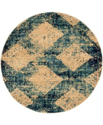 """Thule Thu4 Blue 4' 5"""" x 4' 5"""" Round Area Rug"""