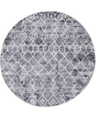 "Levia Lev1 Dark Gray 4' 7"" x 4' 7"" Round Area Rug"
