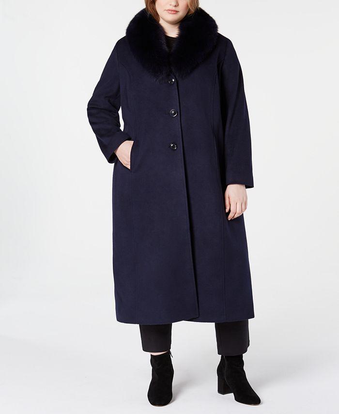 Forecaster - Plus Size Fox-Fur-Collar Maxi Reefer Coat