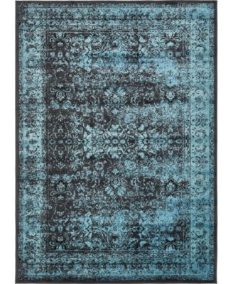 Linport Lin1 Turquoise/Black 7' x 10' Area Rug