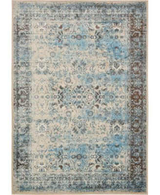 "Linport Lin1 Ivory/Turquoise 8' x 11' 6"" Area Rug"