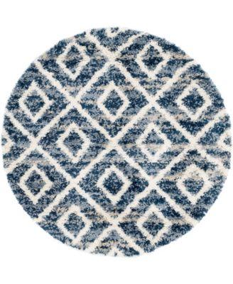 Lochcort Shag Loc2 Blue 5' x 5' Round Area Rug