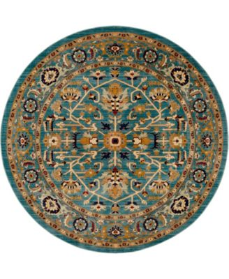 Thule Thu1 Turquoise 8' x 8' Round Area Rug