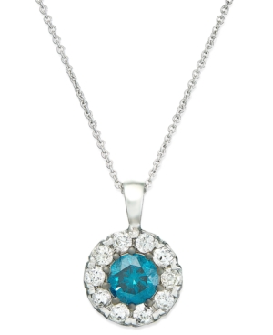 Bella Bleu by EFFY Collection 14k White Gold Necklace, Blue and White Diamond Accent Pendant