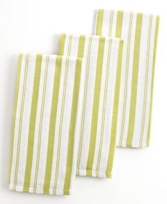 Martha Stewart Collection Kitchen Towels, Set of 3 Green Basketweave