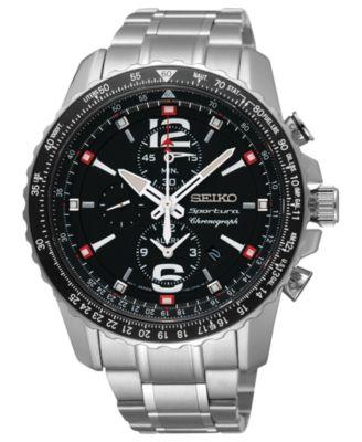 seiko s solar chronograph stainless steel