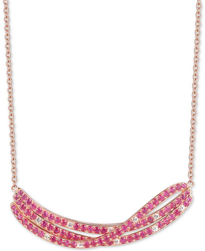 """Macy's Certified Ruby (3-5/8 ct. t.w.) & White Topaz (1/2 ct. t.w.) 18"""" Pendant Necklace in 14k Rose Gold-Plated Sterling Silver"""