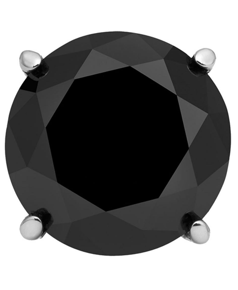 Mens Stainless Steel Earring, Black Diamond Single Stud Earring (1 ct. t.w.)   Earrings   Jewelry & Watches