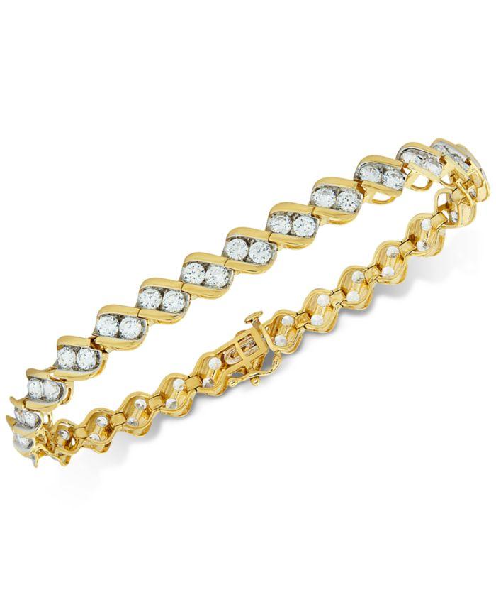 Macy's Diamond Two-Stone Link Bracelet (6 ct. t.w.) in 14k Gold & Reviews - Bracelets - Jewelry & Watches - Macy's