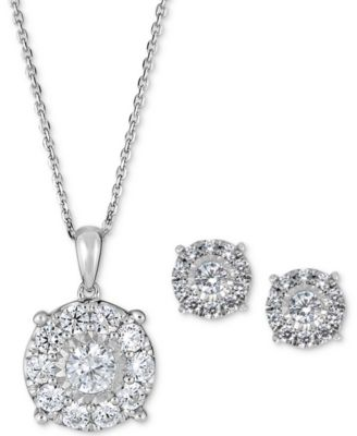 2-Pc. Set Diamond (2 ct. t.w.) Pendant Necklace & Stud Earrings in 14k White or Yellow Gold