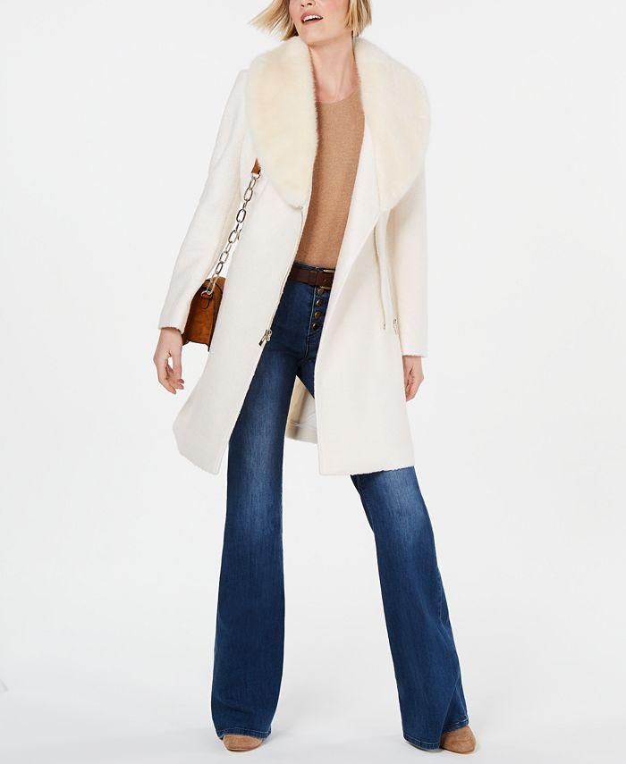 INC International Concepts - Faux-Fur-Trim Asymmetrical Walker Coat