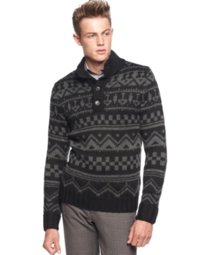 Calvin Klein Sweaters, Macy's Holiday Exclusive Quarter Button Fairisle Sweater