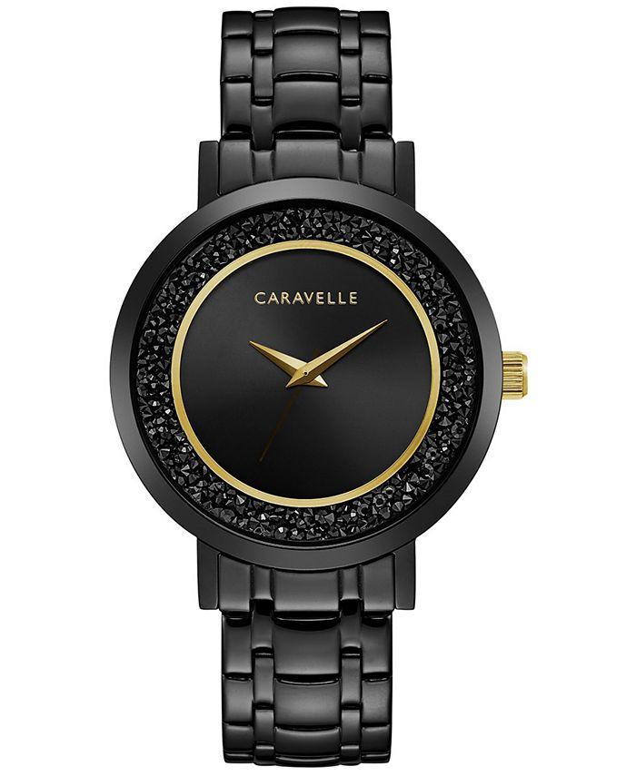 Caravelle - Women's Crystal Black Stainless Steel Bracelet Watch 36mm