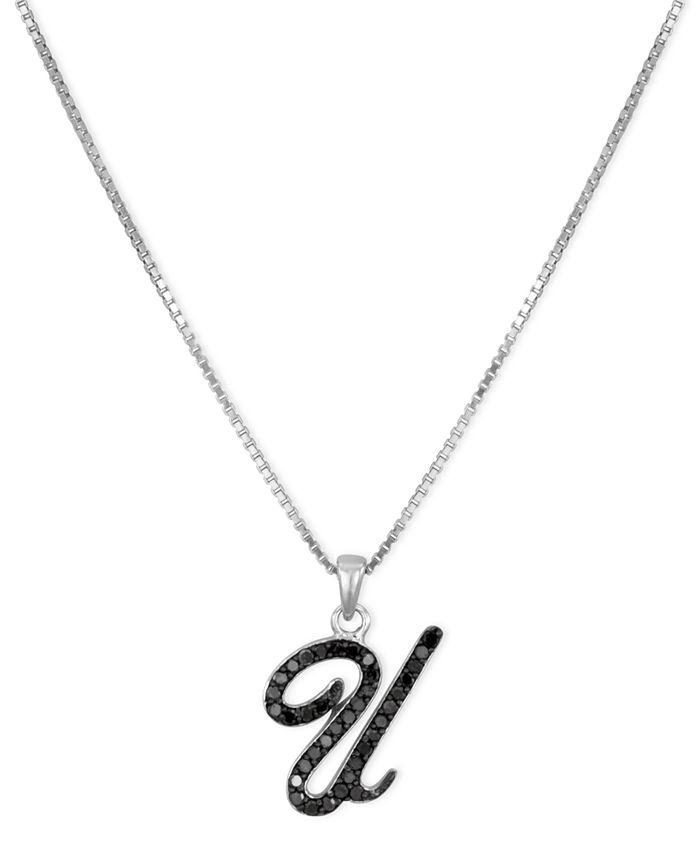 "Macy's - Sterling Silver Necklace, Black Diamond ""U"" Initial Pendant (1/4 ct. t.w.)"