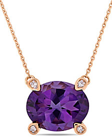 """Amethyst (2-3/8 ct.t.w.) and Diamond Accent 17"""" Necklace in 10k Rose Gold"""