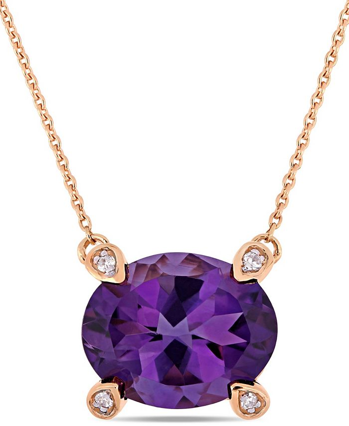 "Macy's - Amethyst (2-3/8 ct.t.w.) and Diamond Accent 17"" Necklace in 10k Rose Gold"