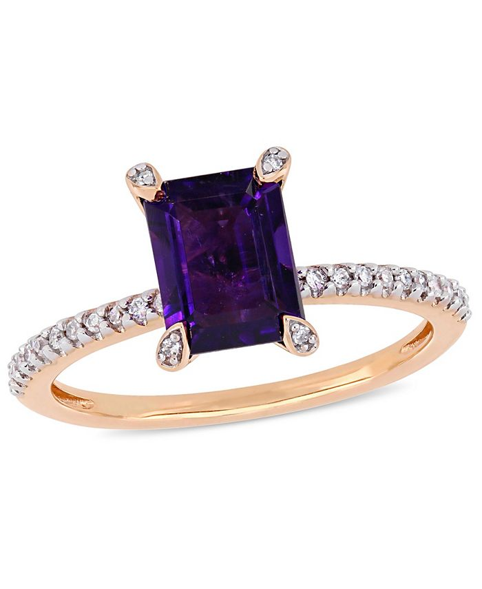 Macy's - Amethyst (1-1/2 ct.t.w.) and Diamond (1/10 ct.t.w.) Ring in 10k Rose Gold