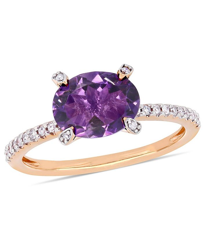 Macy's - Amethyst (1-5/8 ct.t.w.) and Diamond (1/10 ct.t.w.) Ring in 10k Rose Gold