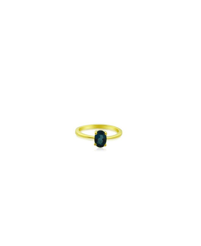 Macy's Oval London Blue Topaz (1 ct. t.w.) Stack Ring Set in Gold Plated Sterling Silver
