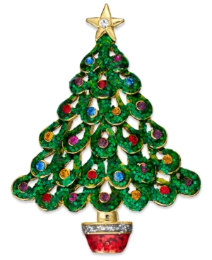 Charter Club Brooch, Gold Tone Green Gltter Christmas Tree Pin
