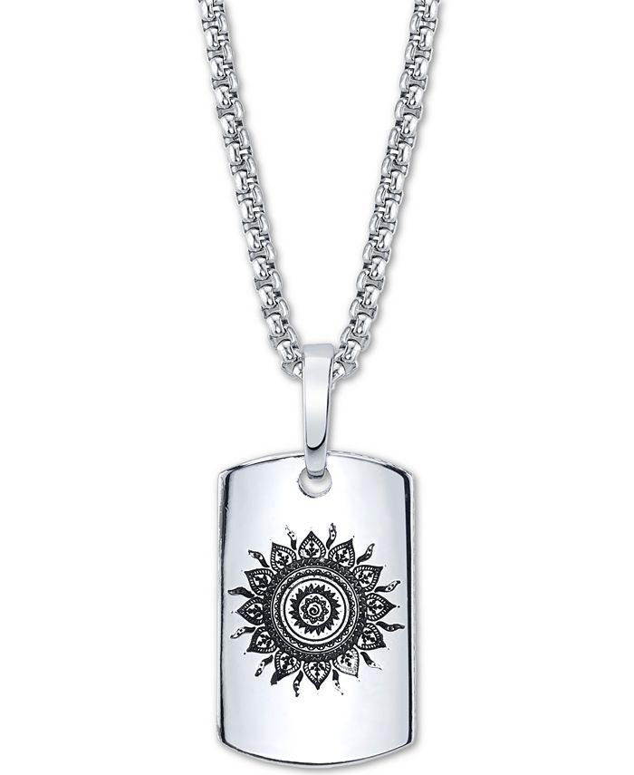 """He Rocks - Sun Motif Dog Tag Pendant Necklace In Stainless Steel, 24"""" Chain"""