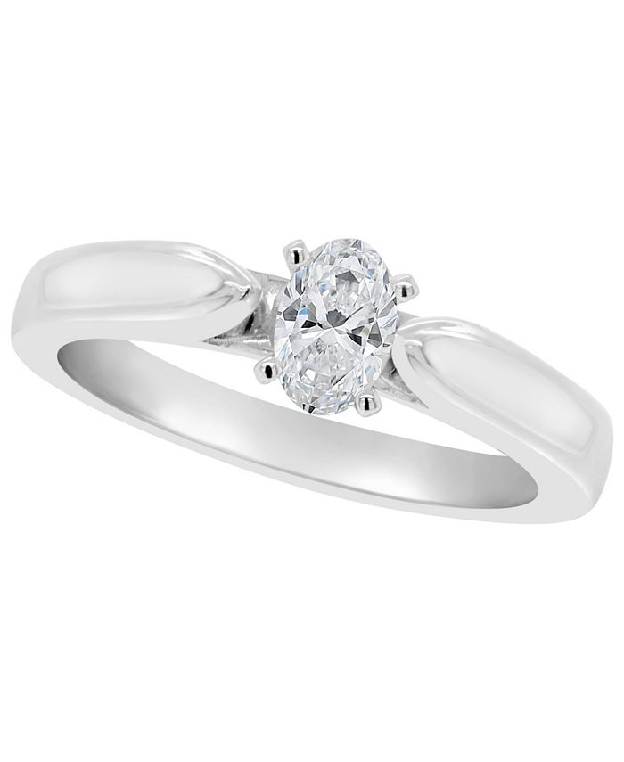 Macy's - Certified Oval Diamond Solitaire Engagement Ring (1/2 c.t. t.w.) in 14k White Gold, Rose Gold, or Yellow Gold
