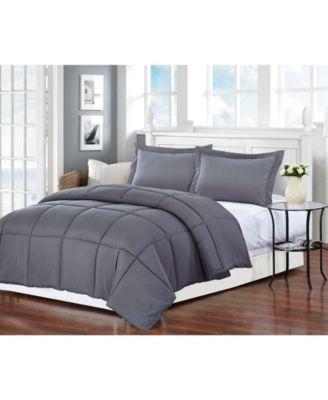 Polyester Medium Warmth Down Alternative Eastern King Comforter with Duvet Insert