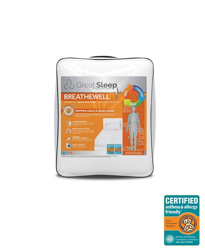Great Sleep - Breathewell Certified Asthma & Allergy Friendly Full Mattress Pad