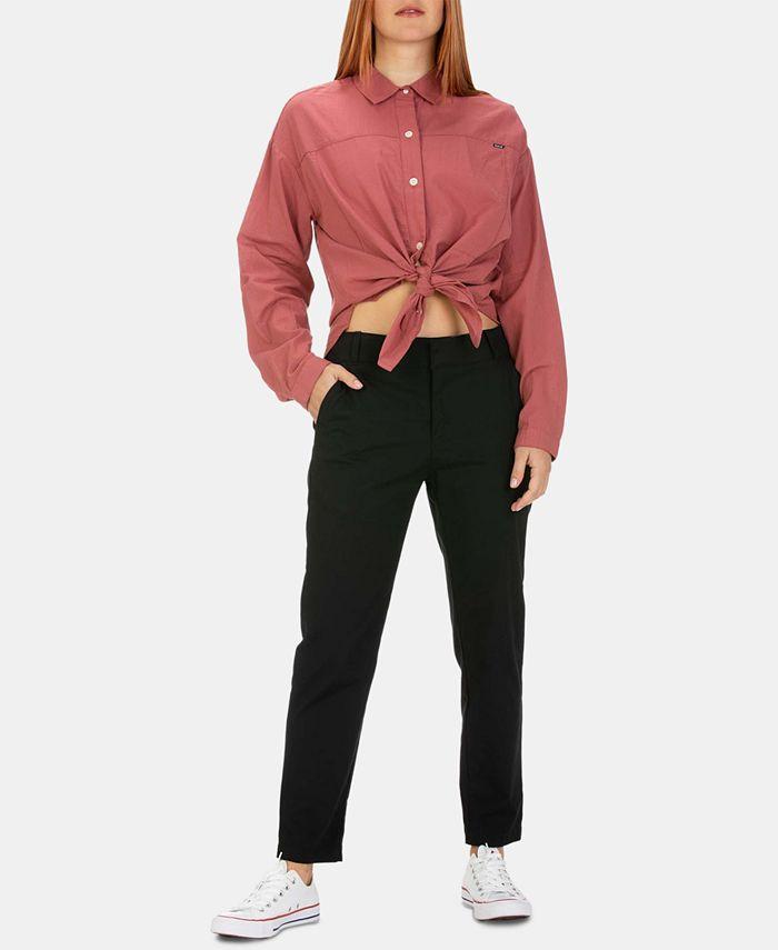 Hurley - Juniors' Cotton Tie-Front Shirt