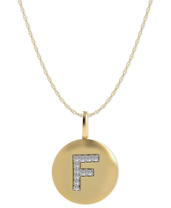 Macy's - 14k Gold Necklace, Diamond Letter F Disk Pendant (1/10 ct. t.w.)