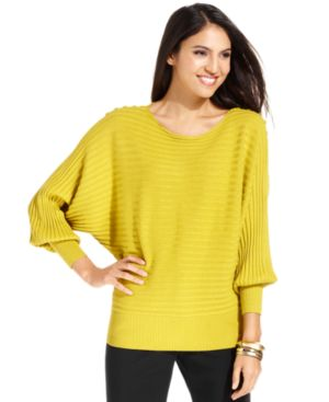 Alfani Petite Dolman Ribbed Sweater