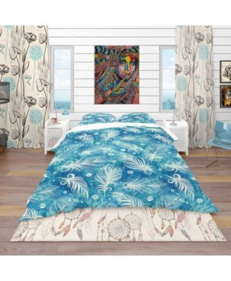 Designart 'Pattern With Feathers And Circles' Southwestern Duvet Cover Set - King