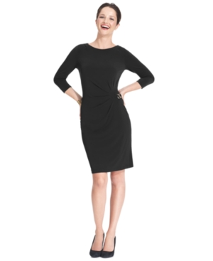 Ny Collection Petite Dress, 3/4 Sleeve Side Buckle