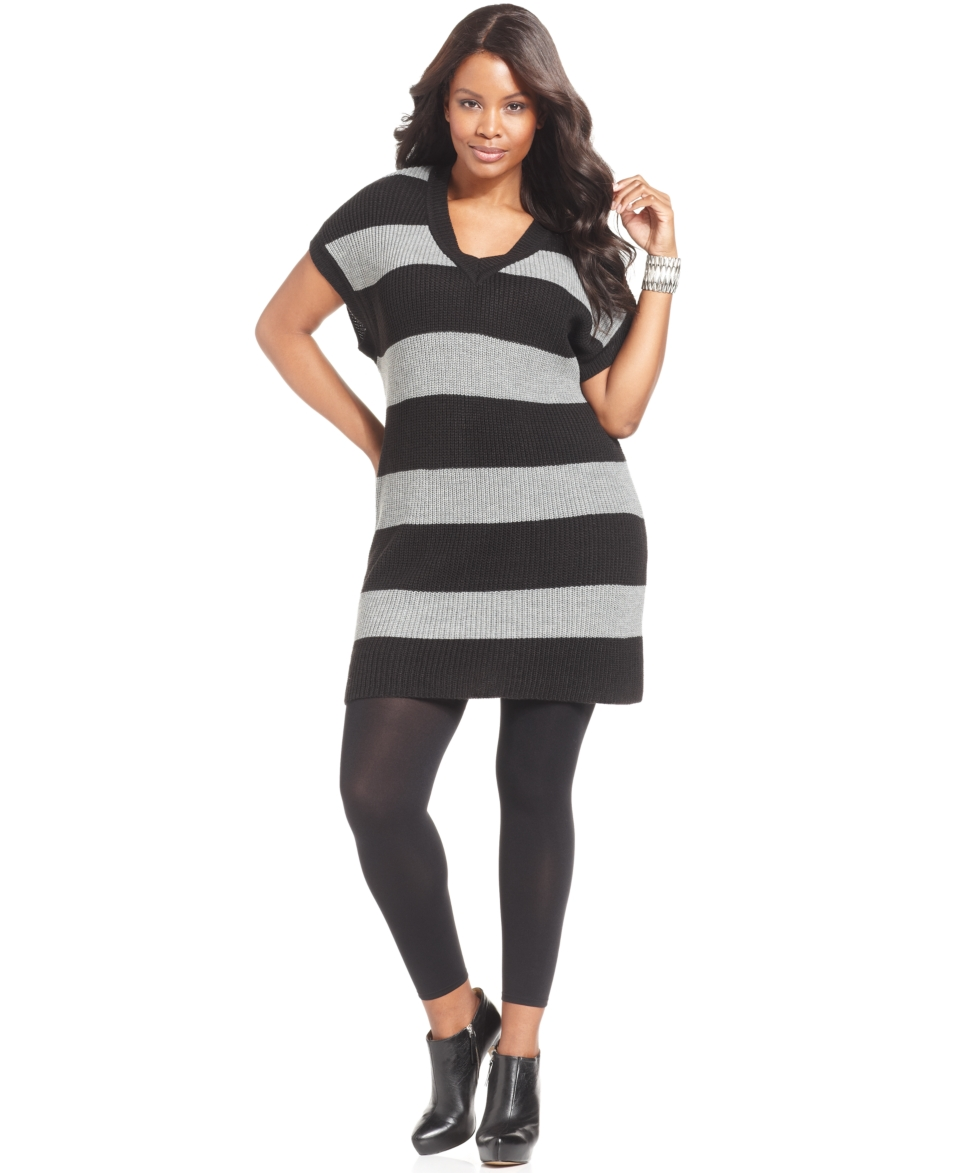 NY Collection Plus Size Dress, Short Sleeve Striped Sweater
