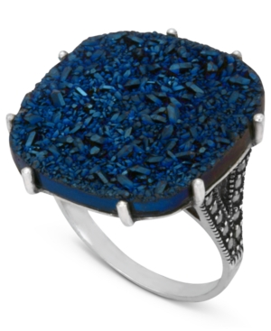 Genevieve & Grace Sterling Silver Ring, Blue Druzy and Marcasite Square Ring