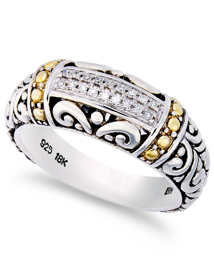 EFFY Collection - Diamond Accent Round Swirl Ring in 18k Gold and Sterling Silver