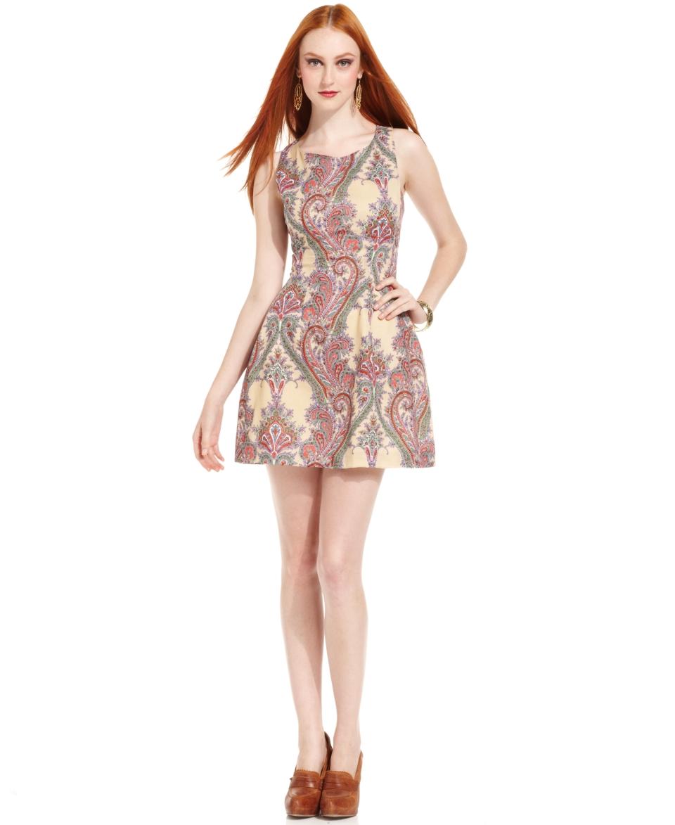 Bar III Dress, Sleeveless Scoop Neck Paisley Print A Line   Womens
