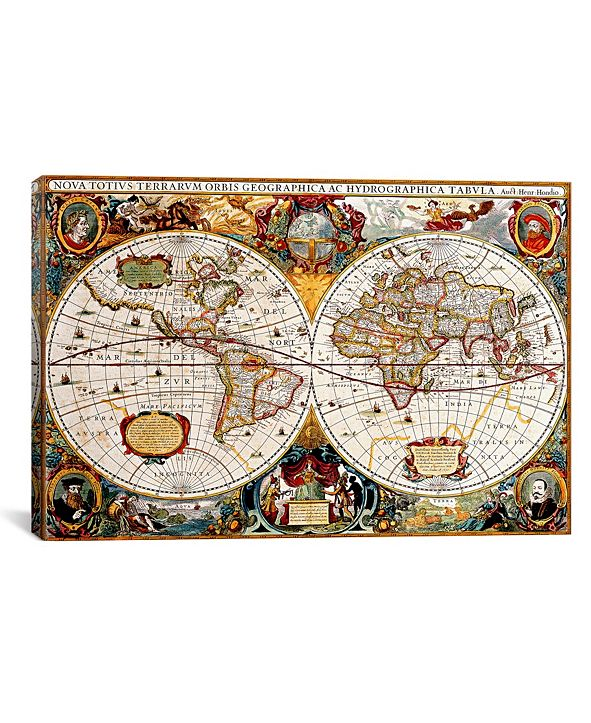 "iCanvas Antique Double Hemisphere Map of The World Gallery-Wrapped Canvas Print - 40"" x 60"" x 1.5"""